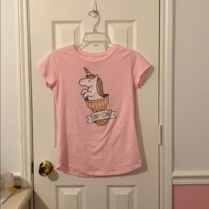 Unicorn pink graphic T-shirt kids size xl 14-16